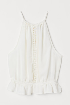 H&M Crinkled top with lace