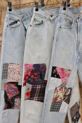 Urban Renewal Vintage Remade From Vintage Patched Light Wash Jeans - Blue S at Urban Outfitters
