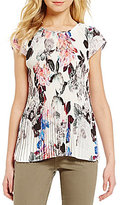 NYDJ Nottingham Floral Print Crew Neck Short Sleeve Pleated Top