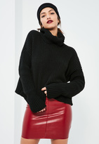 Missguided Black Chunky Turtle Neck Sweater