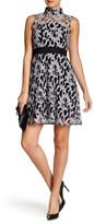 Rachel Roy Woven Mock Neck Lace Sheer Fit & Flare Dress