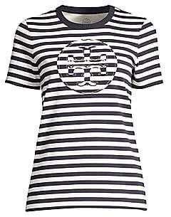 Tory Burch Women's Striped Logo T-Shirt