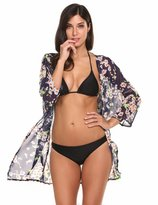 Meaneor Women's Cover Up Kimono Beach Swimwear Bikini Chiffon Boho Floral Cardigan