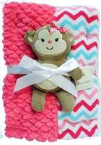Mini Muffin Super Soft Baby Blanket + Stuffed Animal Combo Pack (Pink Monkey) by