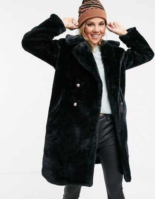Qed London faux fur midi coat with double button detail