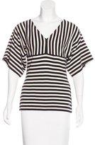 Sonia Rykiel Stripe Pattern V-Neck Top