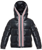 Moncler Maubic Hooded Striped-Trim Puffer Jacket, Navy, Size 4-6