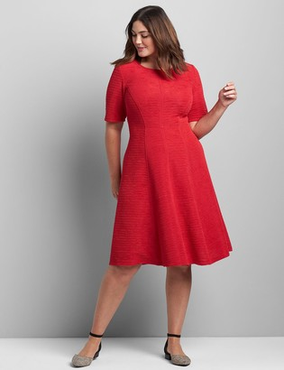 Lane Bryant Perfect Sleeve Textured Fit & Flare Dress