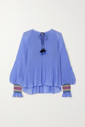 Derek Lam 10 Crosby Helena Tie-neck Plisse-georgette Blouse - Blue