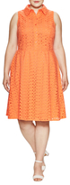 London Times Branch Leaf Eyelet Fit And Flare Dress