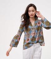 LOFT Marigold Bell Sleeve Split Neck Softened Shirt