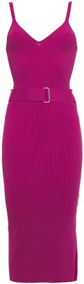 Nicholas Belted Ribbed-knit Midi Dress