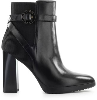 Emporio Armani Black Leather Heeled Ankle Boot