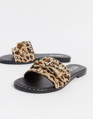 Replay leopard print buckle slider