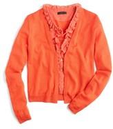 J.Crew Women's Ruffle Underlay Cardigan Sweater