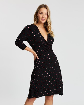 Dorothy Perkins Square Geo Puff Sleeve Wrap Dress