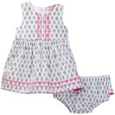 Juicy Couture Printed Poplin Pompom Trim Dress & Bloomer Set (Baby Girls 0-9M)