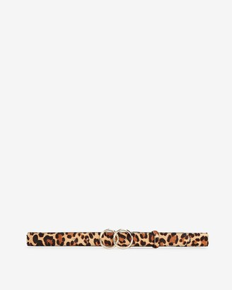 Express Leopard Calf Hair Skinny Double O-Ring Belt