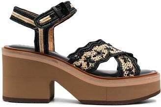 Clergerie Charlize woven raffia platform sandals