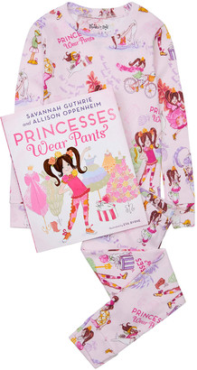 Books to Bed Kid's Princesses Wear Pants Printed Pajama Gift Set, Size 2-7