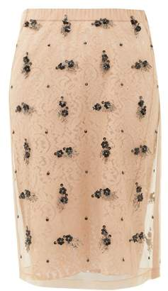 No.21 No. 21 - Embellished Tulle And Lace Pencil Skirt - Womens - Beige