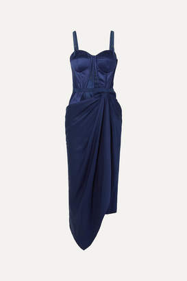 Alexander McQueen Draped Lace And Jacquard-trimmed Silk-satin Bustier Dress - Blue