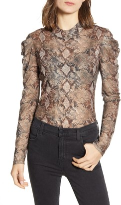Chelsea28 Snake Print Ruched Long Sleeve Blouse