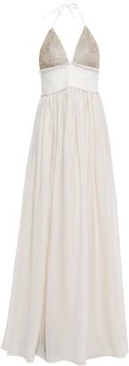 Brunello Cucinelli Twill-paneled Embellished Silk Halterneck Gown
