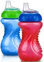 Nuby 2 Pack No Spill Cup, 10 Ounce, Blue - Red
