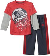 adidas Baby Boy Mock-Layered Long Sleeve Game-Shattering Graphic Tee & Pants Set