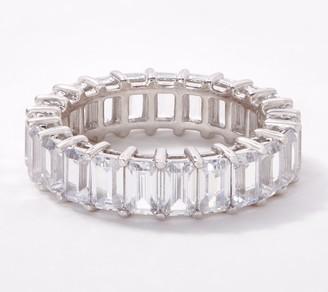 Diamonique Emerald-Cut Eternity Band Ring, Platinum Clad
