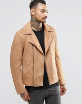 Asos Faux Suede Biker Jacket In Tan