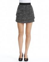 Aqua Pindot-Print Tiered Skirt