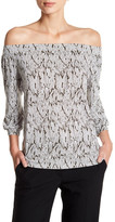 Laundry by Shelli Segal Off-the-Shoulder 3/4 Sleeve Print Shirt
