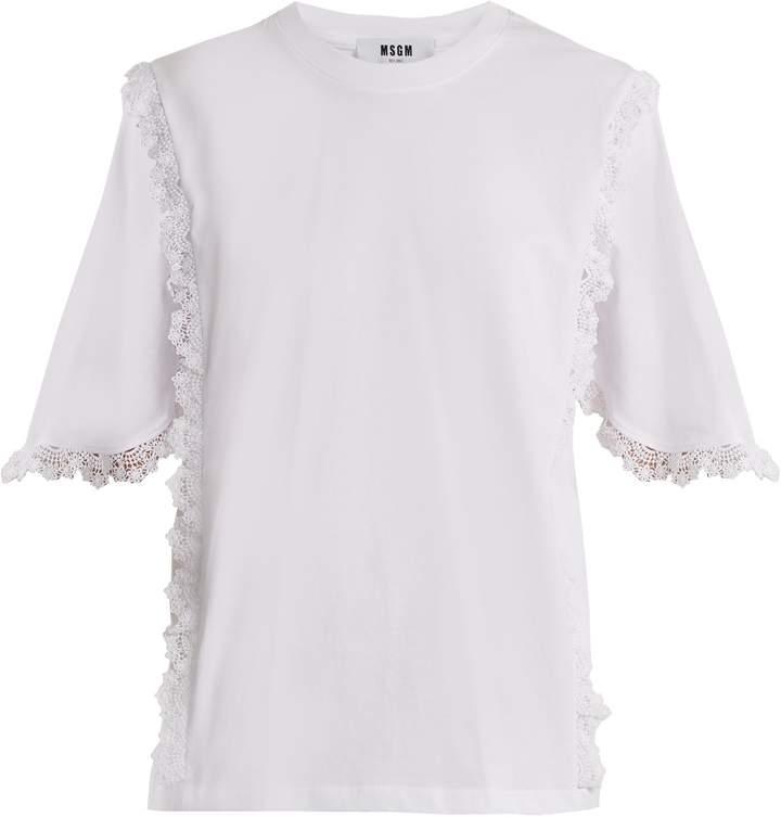 MSGM Macramé lace-trimmed cotton T-shirt