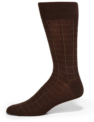 Saks Fifth Avenue Made In Italy Windowpane Cotton Dress Socks