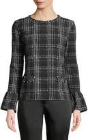 Karl Lagerfeld Paris Plaid Bell-Cuff Pearly-Neck Tee