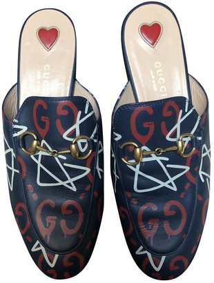 Gucci Princetown Blue Leather Flats