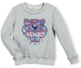 Kenzo Abstract Logo Crewneck Pullover Sweatshirt, Gray/Royal, Size 8-12