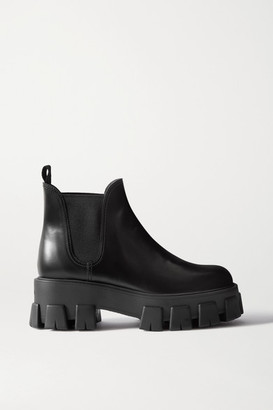Prada 60 Glossed-leather Platform Chelsea Boots - Black