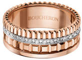 Boucheron 18K Pink Gold Band Ring with Diamonds, Size 55