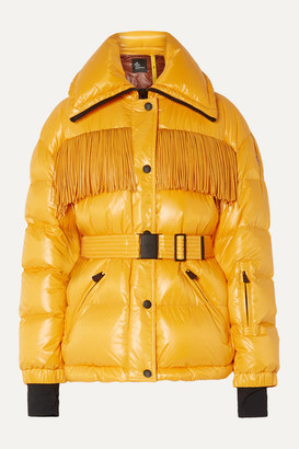 MONCLER GENIUS + 3 Moncler Grenoble Belted Fringed Quilted Down Ski Jacket - Yellow