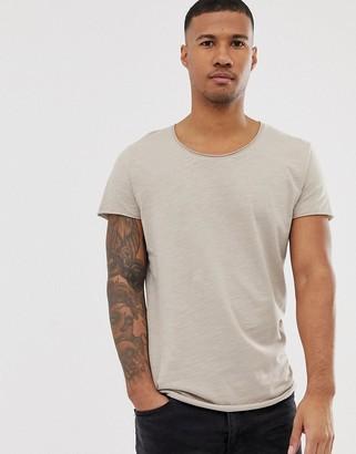 Jack and Jones Essentials scoop neck longline t-shirt in beige