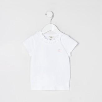 River Island Mini girls White frill crew neck RI T-shirt