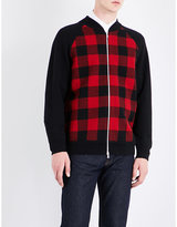 Dries Van Noten Red Checked Exposed Zip Tibet Knitted Cardigan