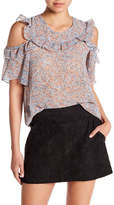 BCBGeneration Ruffle Accent Cold Shoulder Top