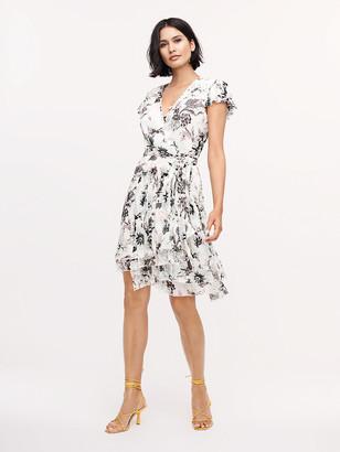 Diane von Furstenberg Theo Pleated Poly-Chiffon Mini Wrap Dress