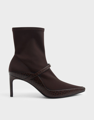 Charles & Keith Croc-Effect Pointed Toe Sock Boots