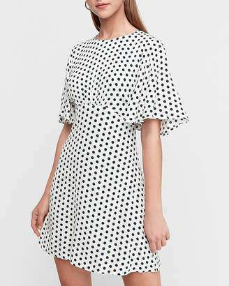 Express Polka Dot Flutter Sleeve Mini Dress
