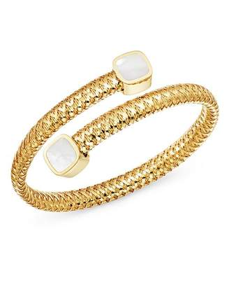 Roberto Coin 18K Yellow Gold Primavera Mother-of-Pearl Square Capped Bypass Bangle